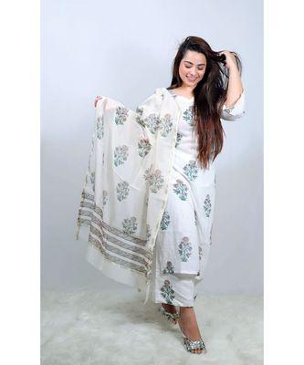 White Mughal Butta Suit Set
