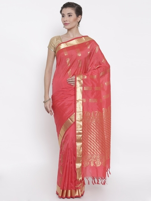 CLASSICATE from the house of The Chennai Silks Women's Coral Pure Kanchipuram Silk Saree With Blouse