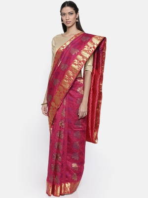 CLASSICATE from the house of The Chennai Silks Women's Multicolor Traditional Pure Silk Saree With Blouse