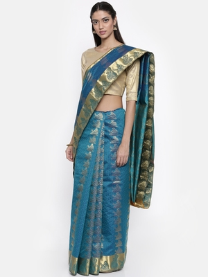 CLASSICATE from the house of The Chennai Silks Women's Blue Traditional Pure Silk Saree With Blouse