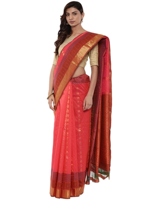 CLASSICATE from the house of The Chennai Silks Women's Magenta Pure Kanchipuram Silk Saree With Blouse
