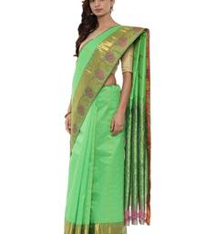 CLASSICATE from the house of The Chennai Silks Women's Green Pure Kanchipuram Silk Saree With Blouse