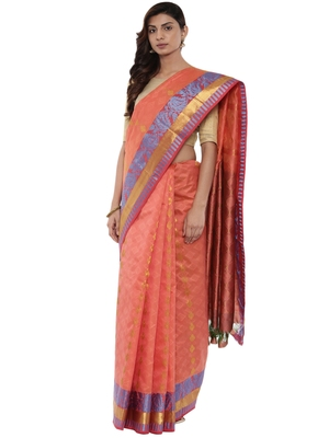 CLASSICATE from the house of The Chennai Silks Women's Peach Pure Kanchipuram Silk Saree With Blouse
