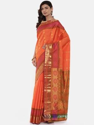 CLASSICATE from the house of The Chennai Silks Women's Orange Pure Kanchipuram Silk Saree With Blouse