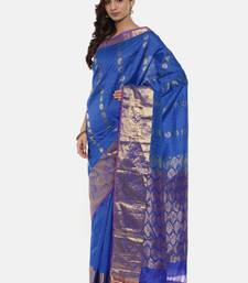 CLASSICATE from the house of The Chennai Silks Women's Blue Pure Kanchipuram Silk Saree With Blouse