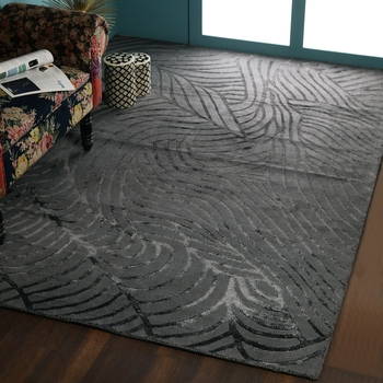 PEQURA Grey Viscose Abstract Patterned Tufted Stencil Carpet