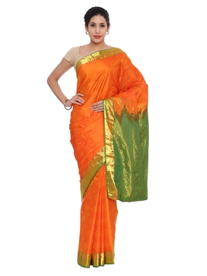 CLASSICATE from the house of The Chennai Silks Women's Orange Pure Kanchipuram Silk Saree With Blouse