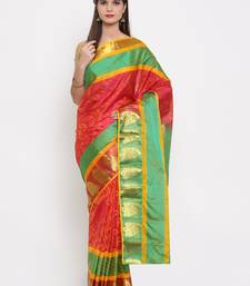 CLASSICATE from the house of The Chennai Silks Women's Red Pure Dharmavaram Silk Saree With Blouse