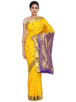 CLASSICATE from the house of The Chennai Silks Women's Yellow Pure Kanchipuram Silk Saree With Blouse