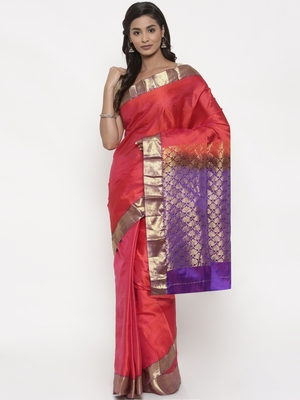 CLASSICATE from the house of The Chennai Silks Women's Red Pure Kanchipuram Silk Saree With Blouse