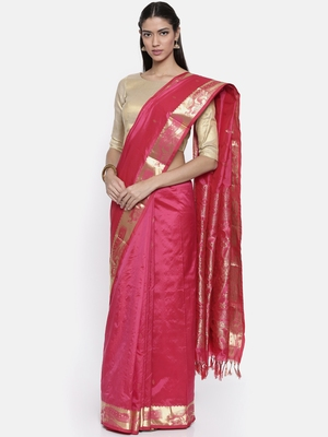 CLASSICATE from the house of The Chennai Silks Women's Pink Traditional Pure Silk Saree With Blouse