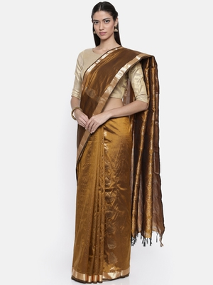 CLASSICATE from the house of The Chennai Silks Women's Gold Traditional Pure Silk Saree With Blouse