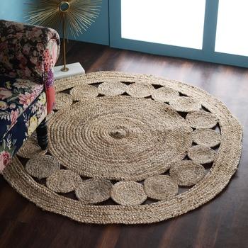 PEQURA Natural Jute Self Design Hand Woven Braided Carpet