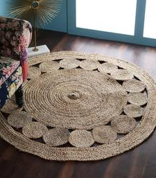 PEQURA Natural Jute Self Design Hand Woven Braided Carpet