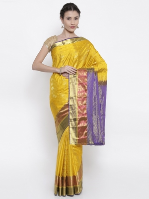 CLASSICATE from the house of The Chennai Silks Women's Yellow Pure Dharmavaram Silk Saree With Blouse