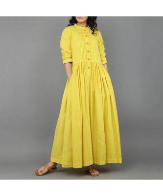 yellow plain cotton stitched kurti