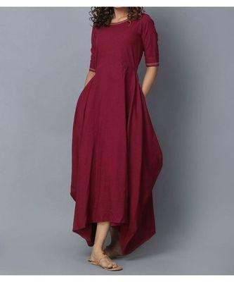 maroon plain linen stitched kurti