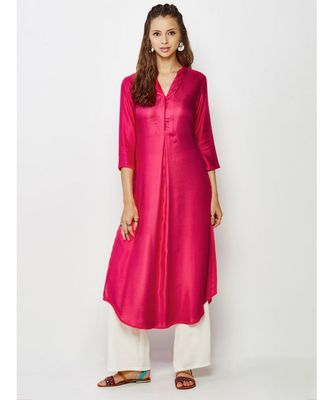 magenta plain silk blend stitched kurti