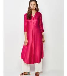 magenta plain silk blend stitched kurti