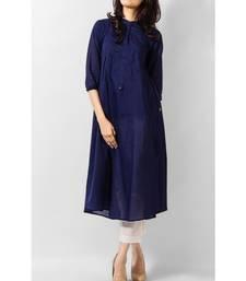 blue plain linen stitched kurti