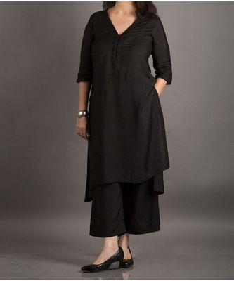 black plain silk blend stitched kurti
