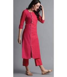 pink plain cotton stitched kurti