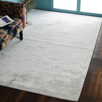 PEQURA Dark Grey Viscose Hand Woven Loop Cut Carpet