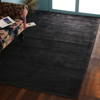 PEQURA Dark Grey Viscose Hand Woven Patterned Rectangle Carpet