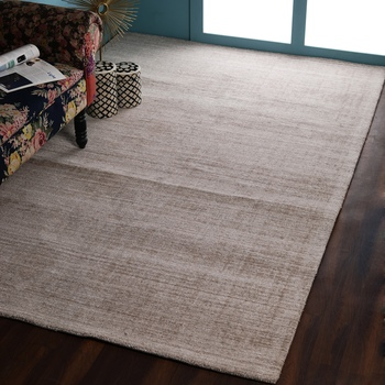 PEQURA Light Beige Viscose Abstract Patterned Hand Woven Carpet
