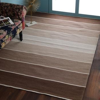 PEQURA Brown Woollen Stripes Patterned Hand Woven Carpet