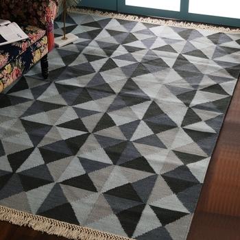 PEQURA Blue and Grey Woollen Geometric Patterned Hand Woven Carpet