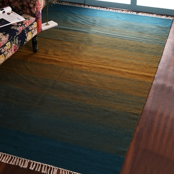 PEQURA Green and Yellow Woollen Hand Woven Geometric Patterned Carpet