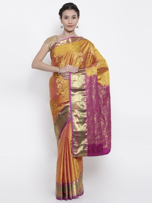 CLASSICATE from the house of The Chennai Silks Women's Mustard Pure Dharmavaram Silk Saree With Blouse