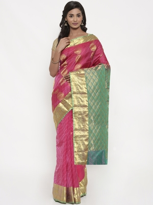 CLASSICATE from the house of The Chennai Silks Women's Pink Pure Kanchipuram Silk Saree With Blouse