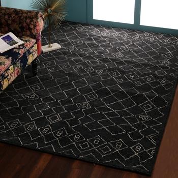 PEQURA Dark Grey Woollen Hand Woven Patterned Tufted Carpet