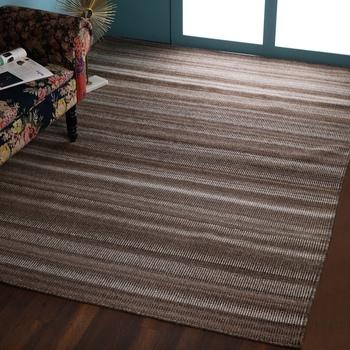 PEQURA Brown Woollen Stripes Patterned Rectangle Hand Woven Carpet