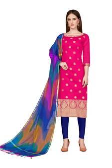 aaf8815c4f Women's Pink Banarasi Cotton Un-stitched Salwar Suit With Rainbow Banarasi  Dupatta