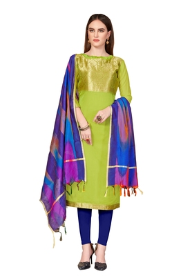 Women's Light Green Banarasi Cotton salwar Suit With Rainbow Banarasi Dupatta