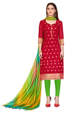Women's Maroon Banarasi Cotton wedding Dress Material With Rainbow Banarasi Dupatta