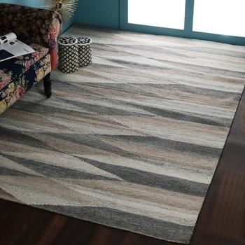 PEQURA Beige and Brown Woollen Patterned Hand Woven Carpet