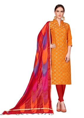 Women's Orange Banarasi Cotton Salwar Suit With Rainbow Banarasi Dupatta