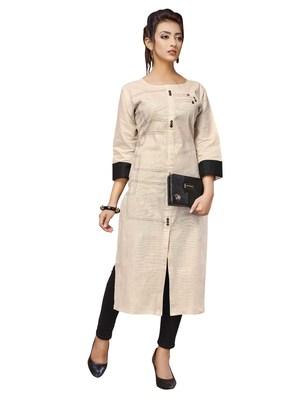 Women'S White Color Khadi Cotton Designer Kurti