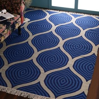 PEQURA Blue and Beige Woollen Stripes Patterned Hand Woven Carpet