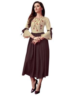 Women'S Beige,Brown Color Rayon Designer Kurti