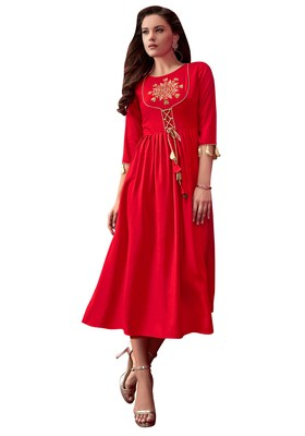 Women'S Red Color Rayon Designer Kurti
