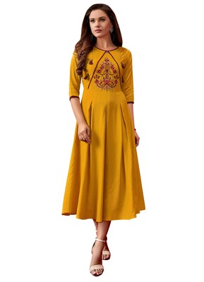 Women'S Yellow Color Rayon Designer Kurti