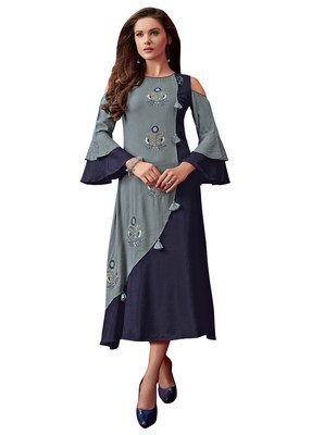 Women'S Grey,Blue Color Rayon Designer Kurti