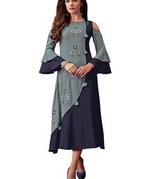 Women'S Grey,Blue Color Rayon Designer Kurti
