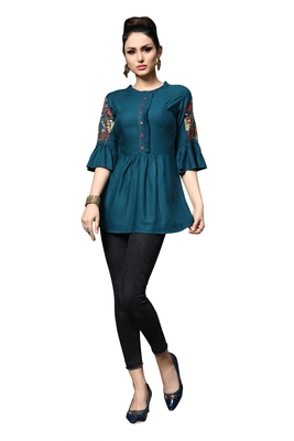 Women'S Blue Color Rayon Designer Multi Embrodiery Work Crop Top Kurti