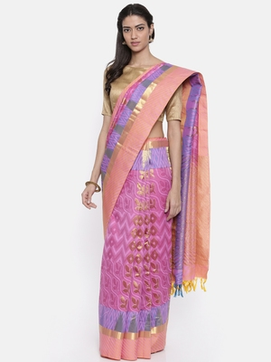 CLASSICATE from the house of The Chennai Silks Women's Violet Pure Dharmavaram Silk Saree With Blouse